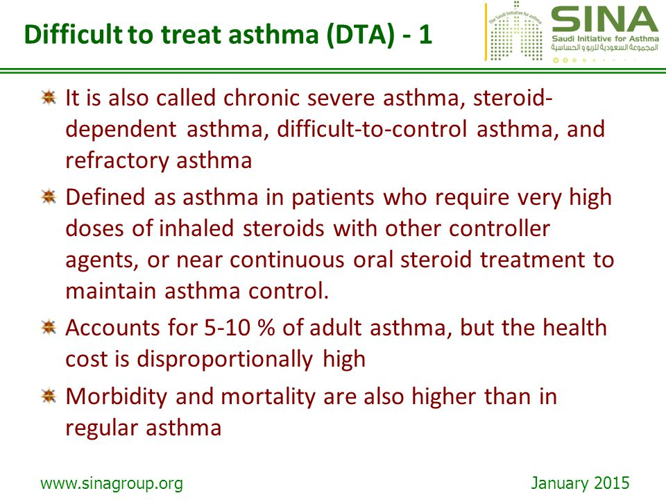 Difficult to treat asthma (DTA) - 1