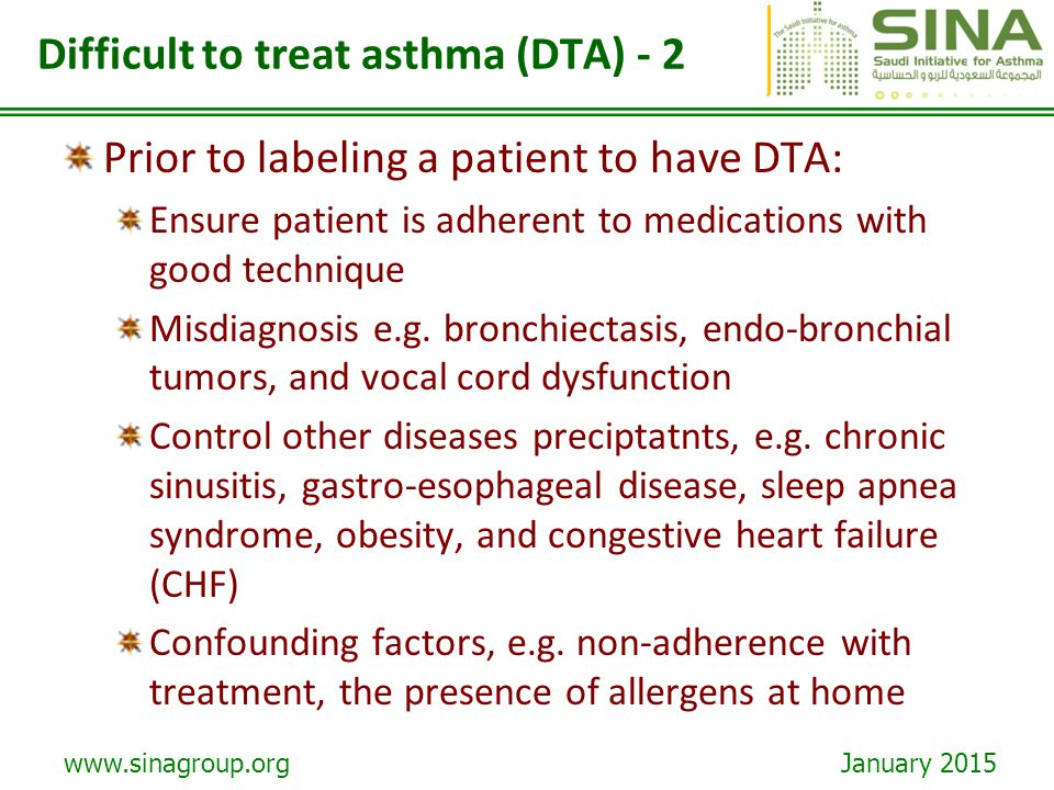 Difficult to treat asthma (DTA) - 2