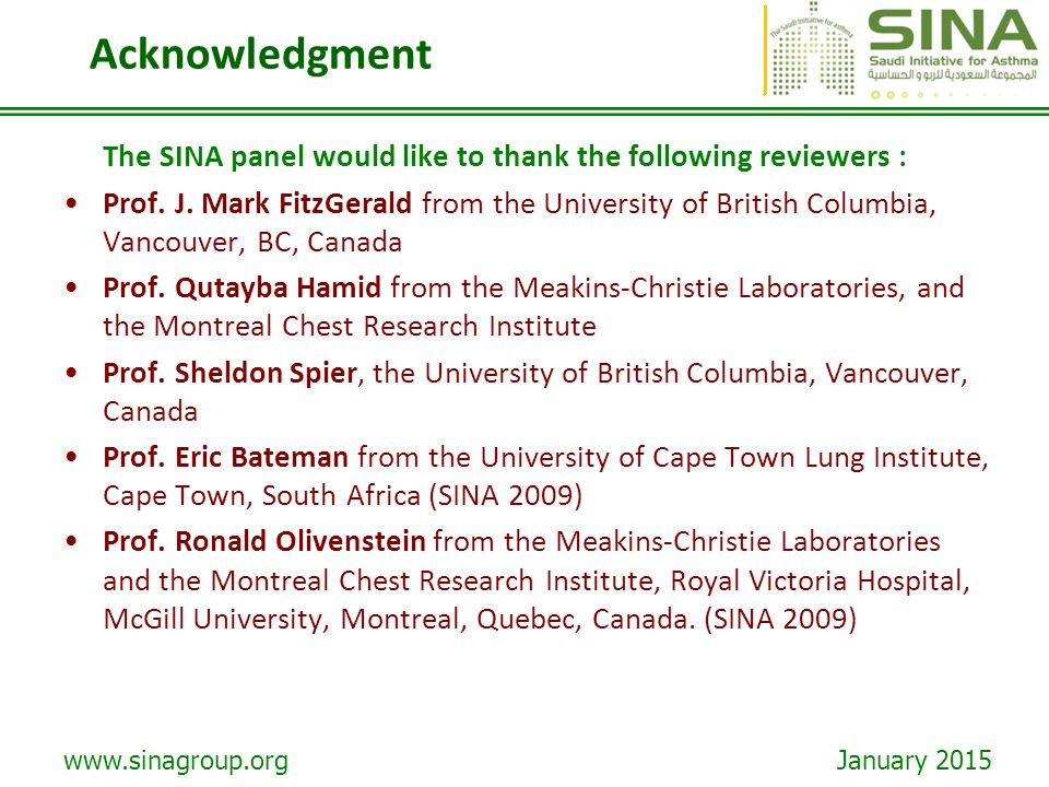 Acknowledgment The SINA panel would like to thank the following reviewers :