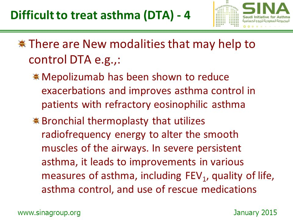 Difficult to treat asthma (DTA) - 4