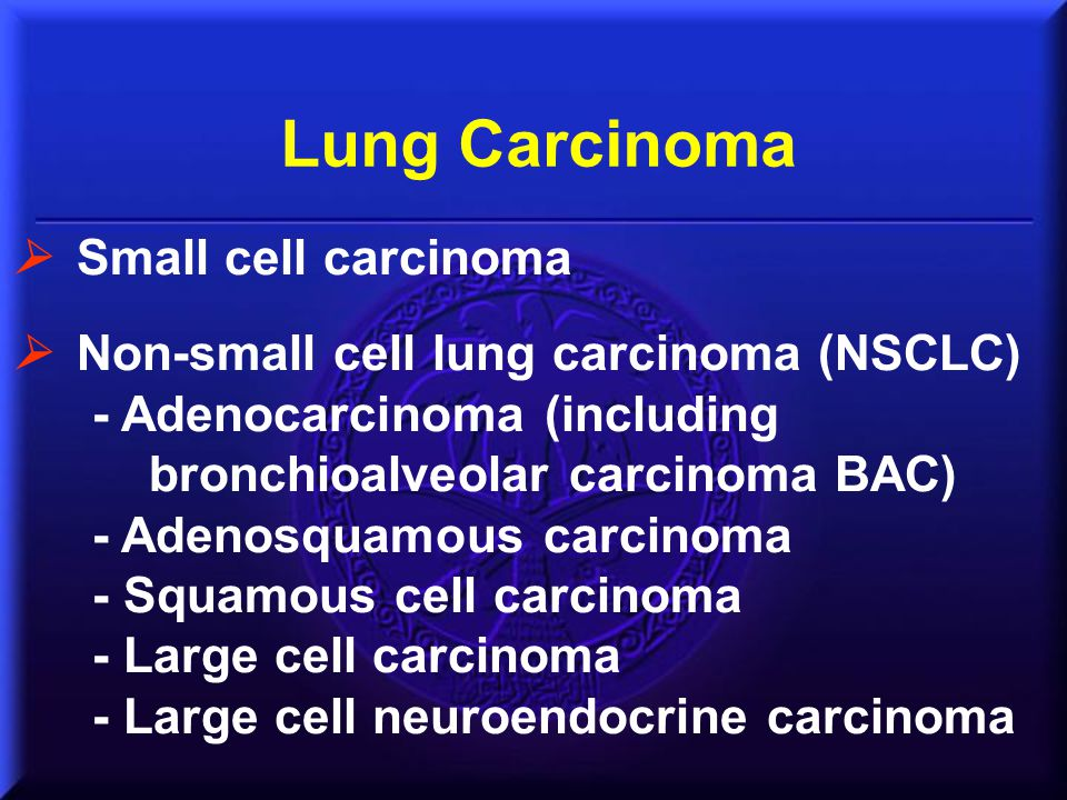 Lung Carcinoma  Small cell carcinoma