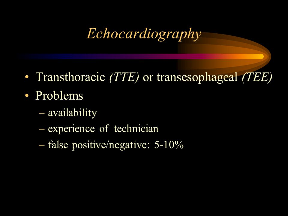 Echocardiography Transthoracic (TTE) or transesophageal (TEE) Problems