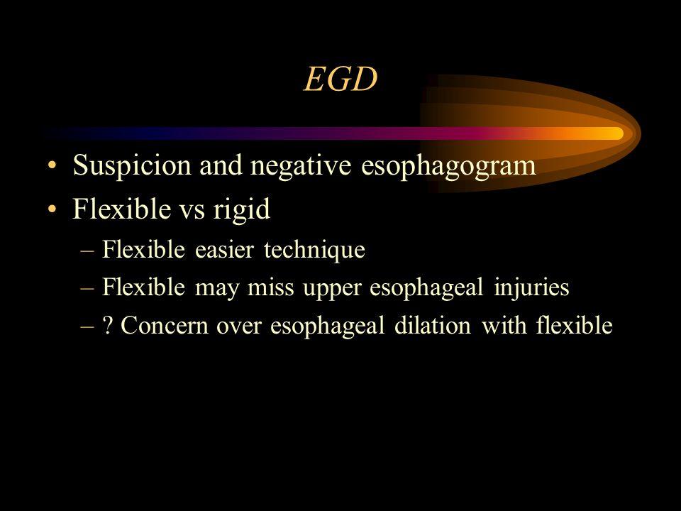 EGD Suspicion and negative esophagogram Flexible vs rigid
