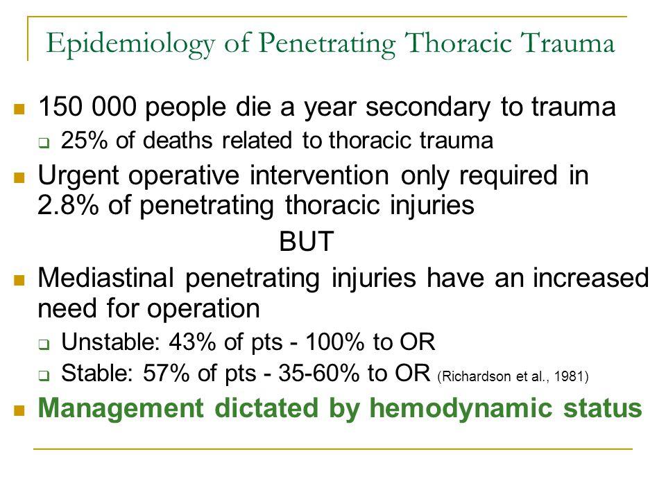 Epidemiology of Penetrating Thoracic Trauma