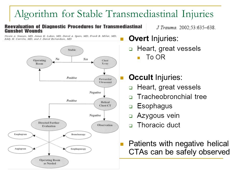 Algorithm for Stable Transmediastinal Injuries