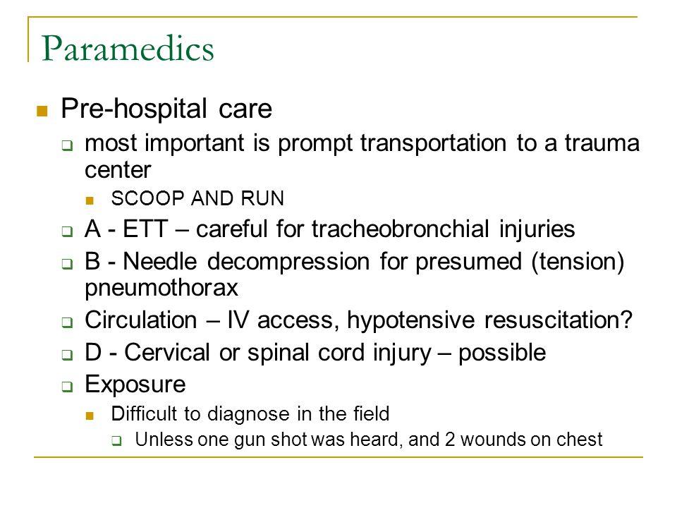 Paramedics Pre-hospital care
