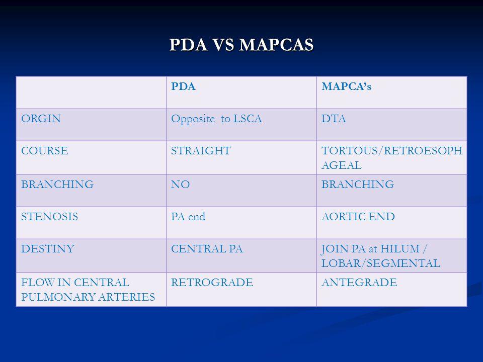 PDA VS MAPCAS PDA MAPCA's ORGIN Opposite to LSCA DTA COURSE STRAIGHT