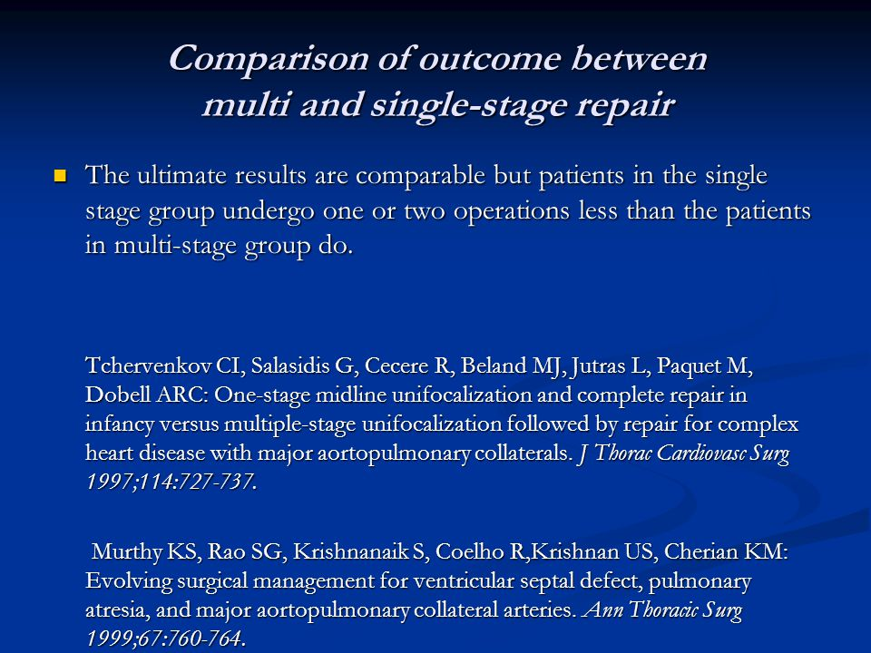 Comparison of outcome between multi and single-stage repair