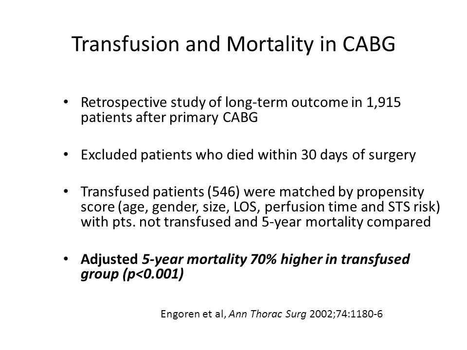 Transfusion and Mortality in CABG