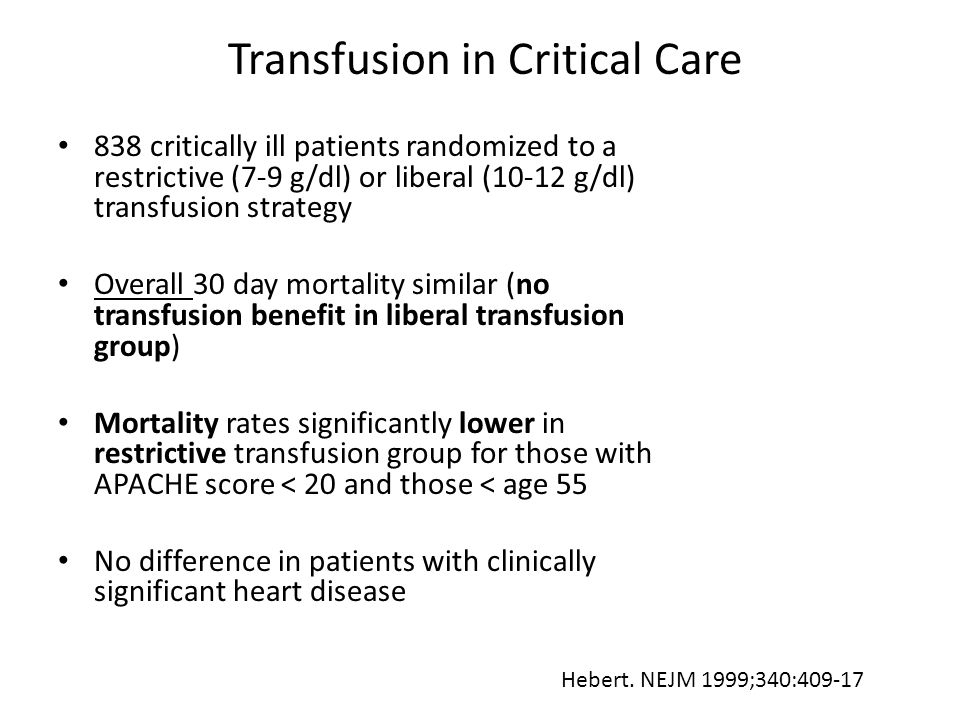 Transfusion in Critical Care