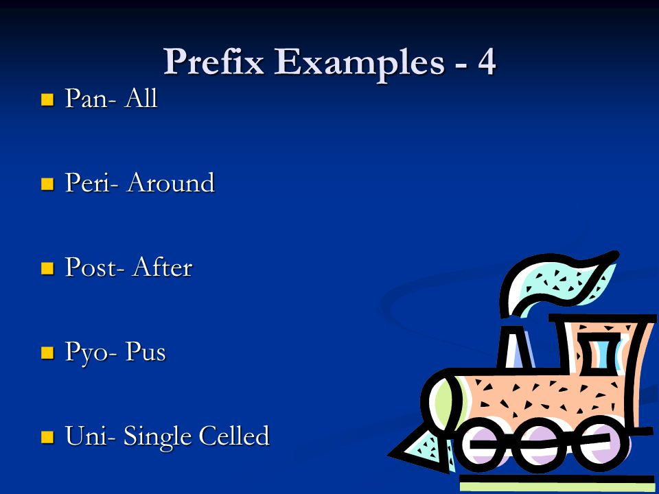Prefix Examples - 4 Pan- All Peri- Around Post- After Pyo- Pus