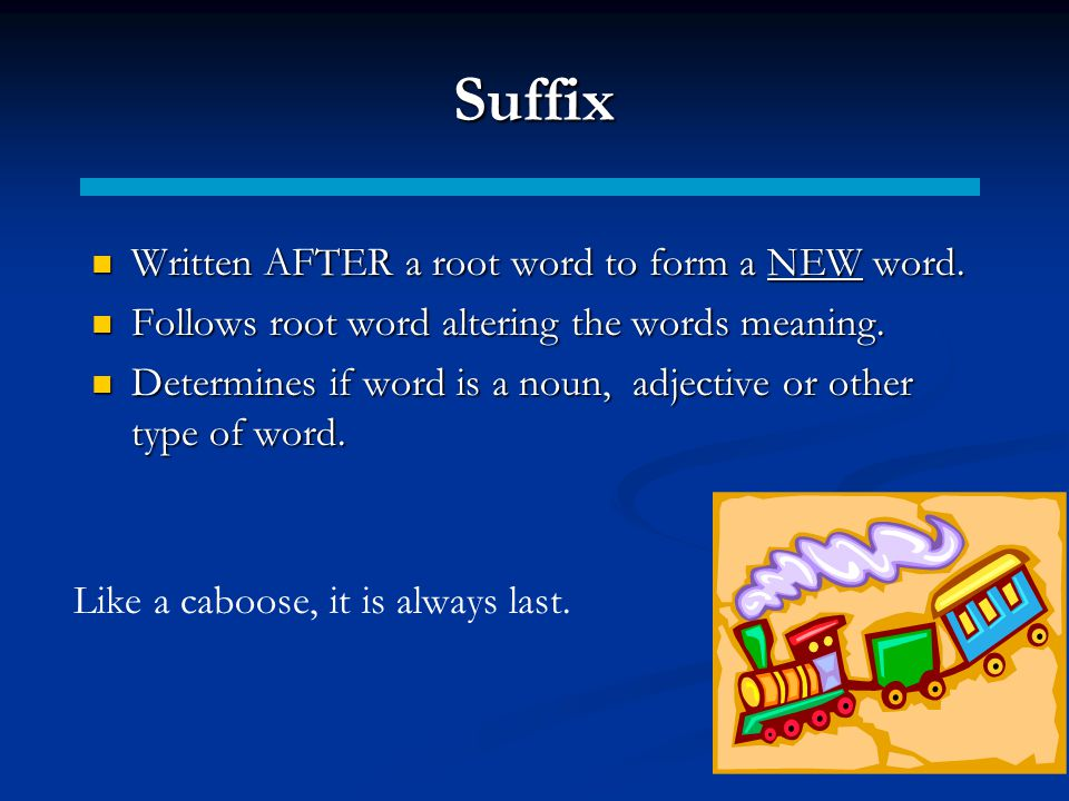 Suffix Written AFTER a root word to form a NEW word.