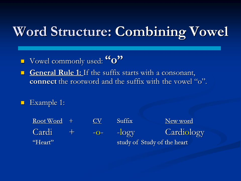 Word Structure: Combining Vowel