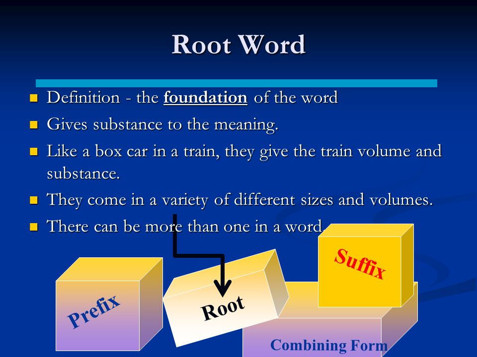 Root Word Suffix Prefix Root Definition - the foundation of the word