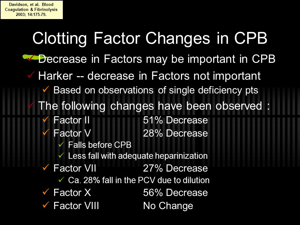 Clotting Factor Changes in CPB