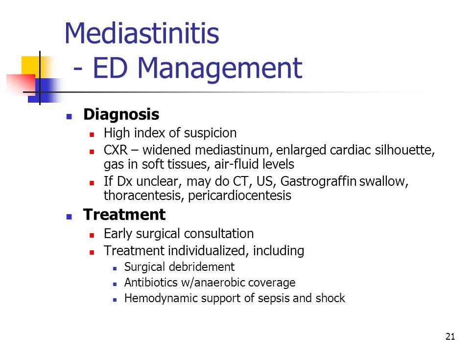 Mediastinitis - ED Management