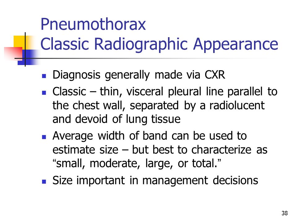 Pneumothorax Classic Radiographic Appearance
