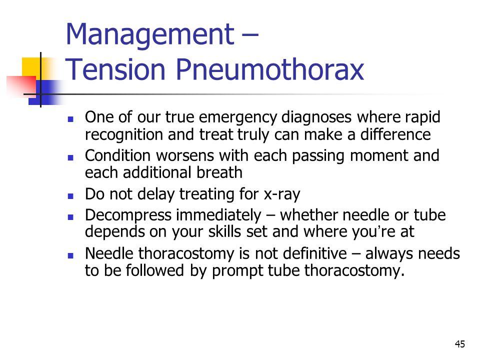 Management – Tension Pneumothorax