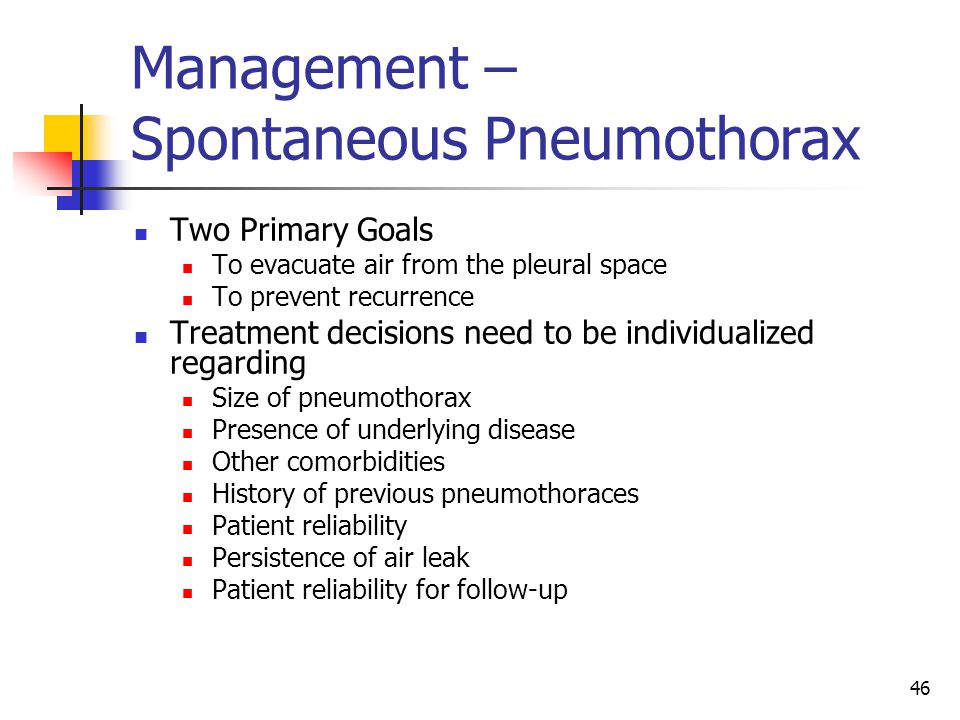 Management – Spontaneous Pneumothorax