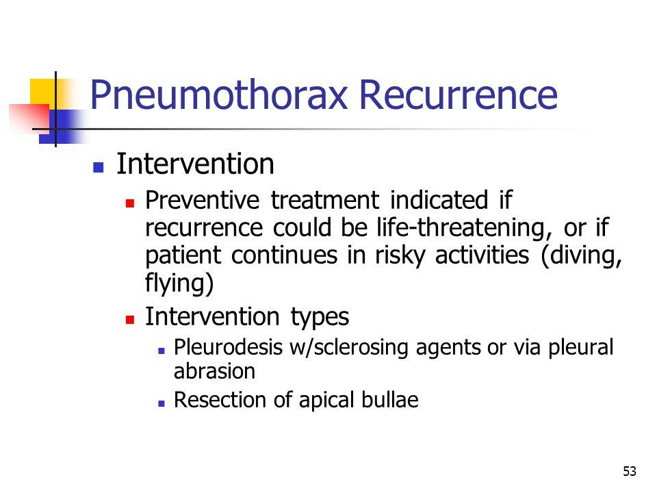 Pneumothorax Recurrence