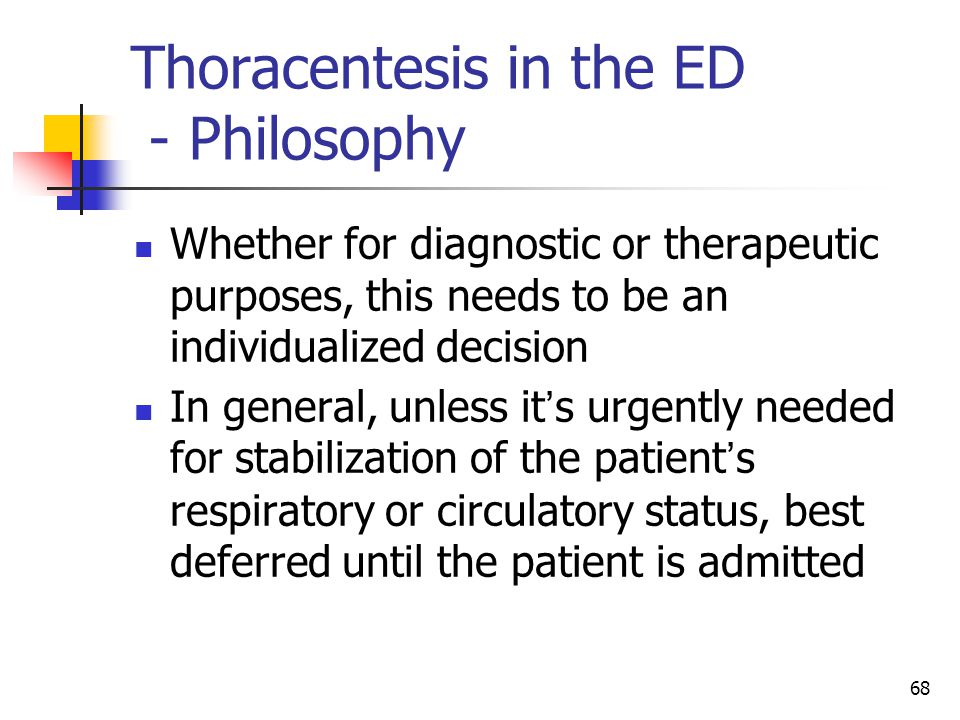 Thoracentesis in the ED - Philosophy