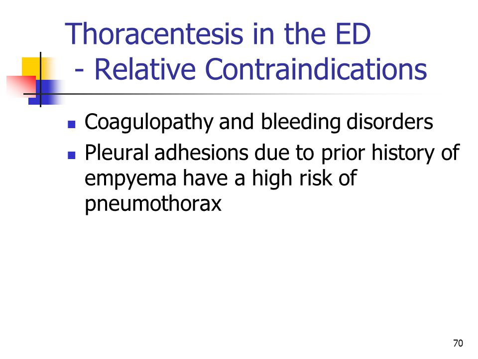 Thoracentesis in the ED - Relative Contraindications