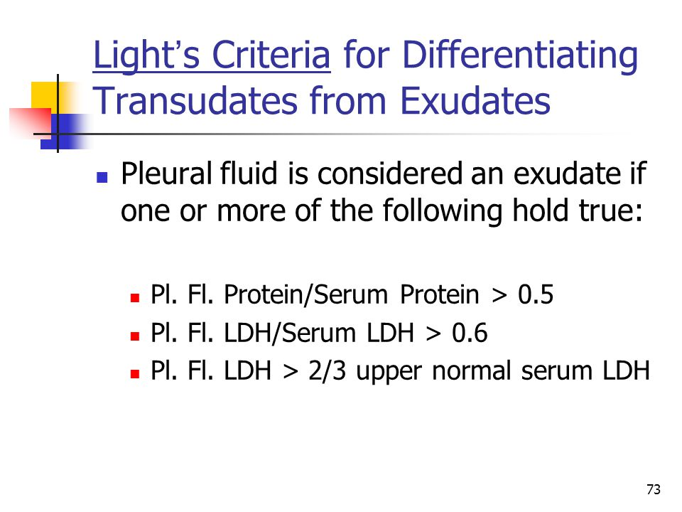 Light's Criteria for Differentiating Transudates from Exudates