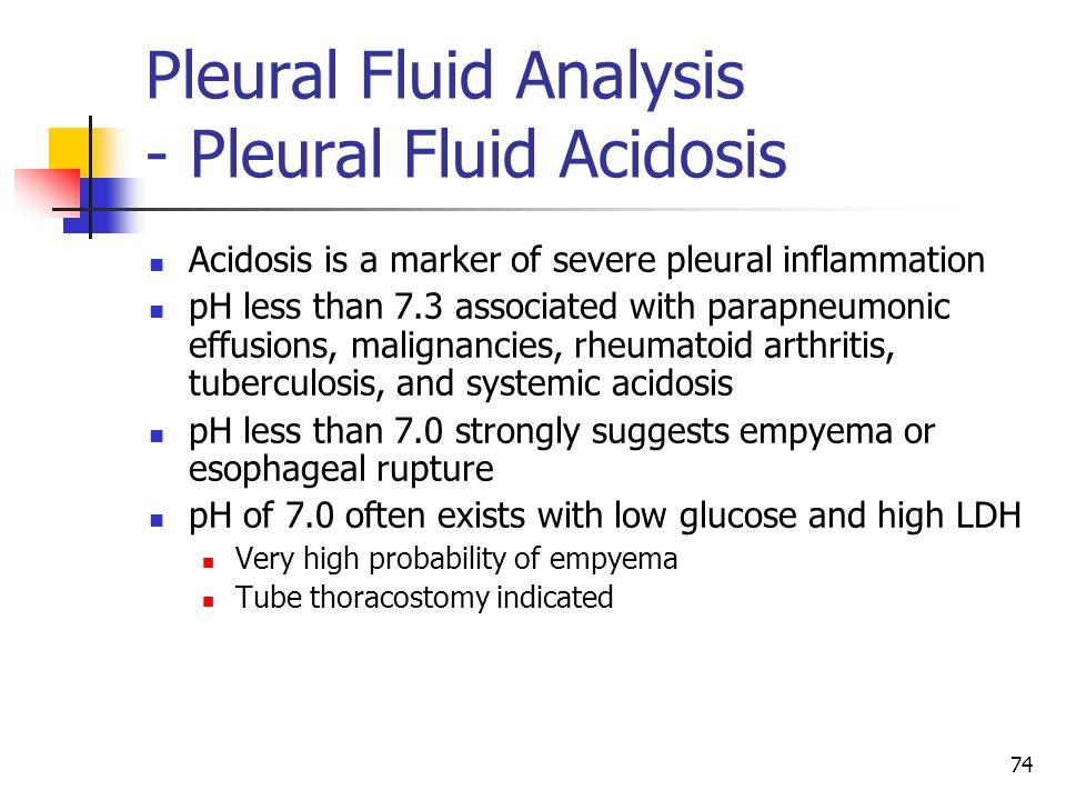 Pleural Fluid Analysis - Pleural Fluid Acidosis