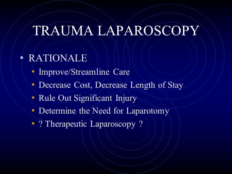 TRAUMA LAPAROSCOPY RATIONALE Improve/Streamline Care