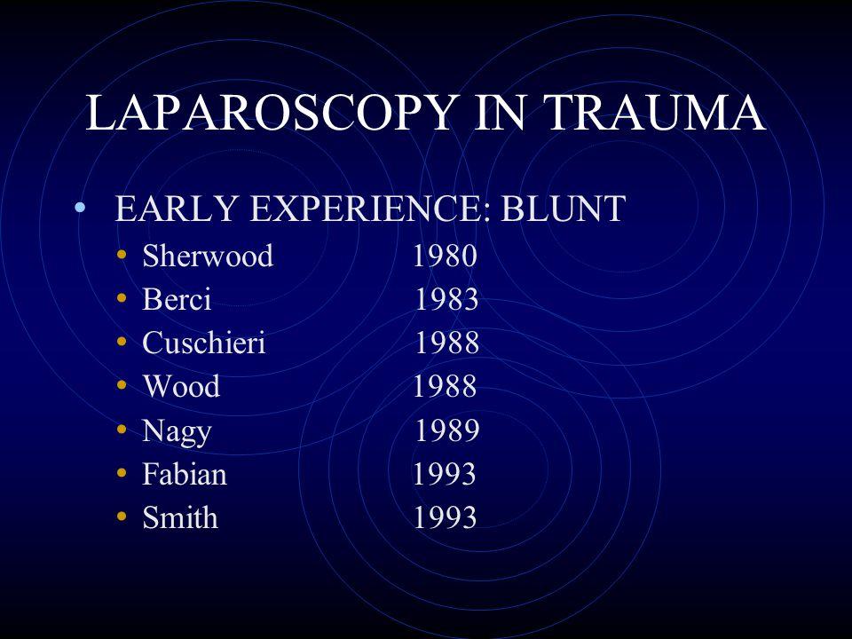 LAPAROSCOPY IN TRAUMA EARLY EXPERIENCE: BLUNT Sherwood 1980 Berci 1983