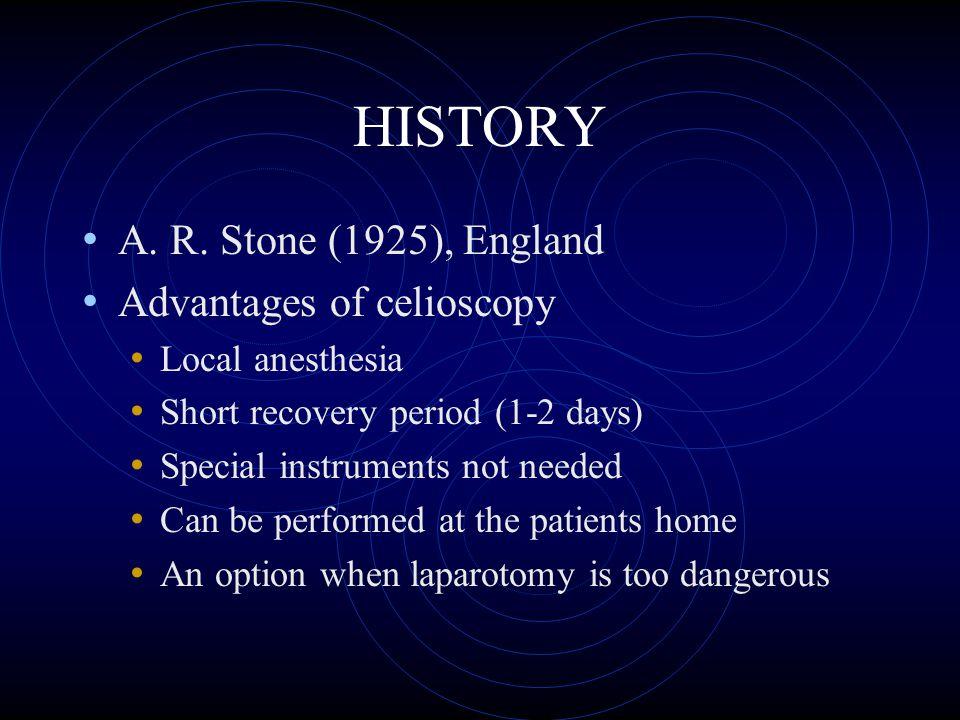 HISTORY A. R. Stone (1925), England Advantages of celioscopy