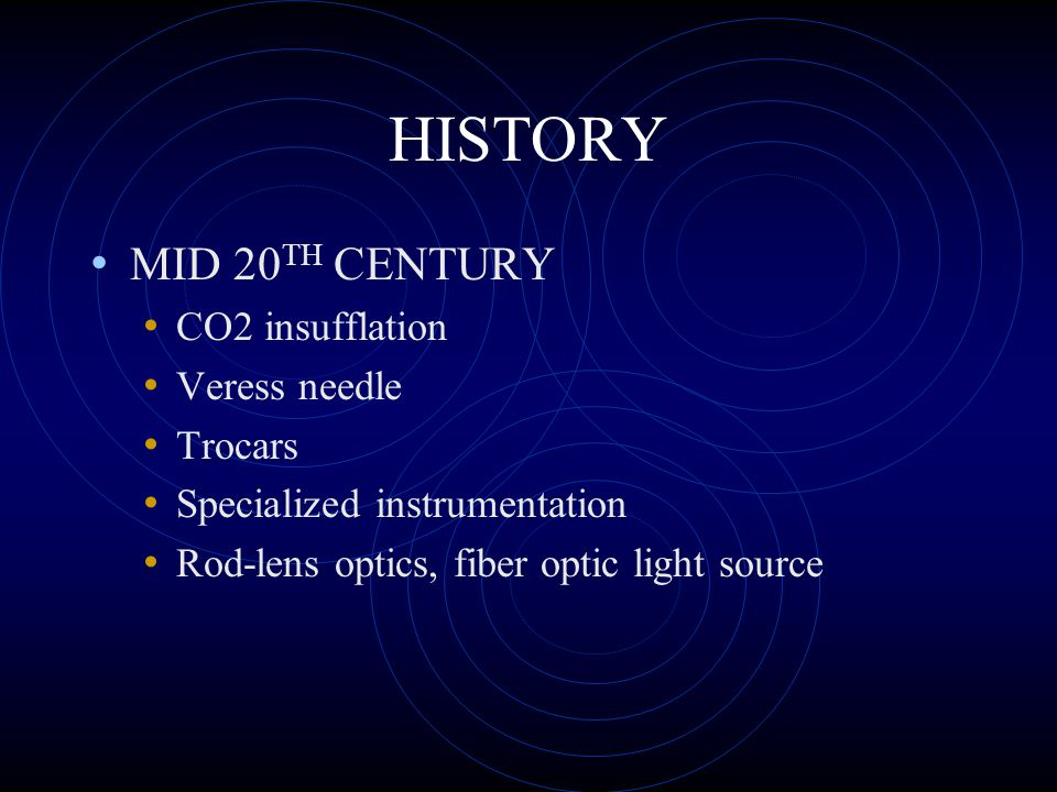 HISTORY MID 20TH CENTURY CO2 insufflation Veress needle Trocars