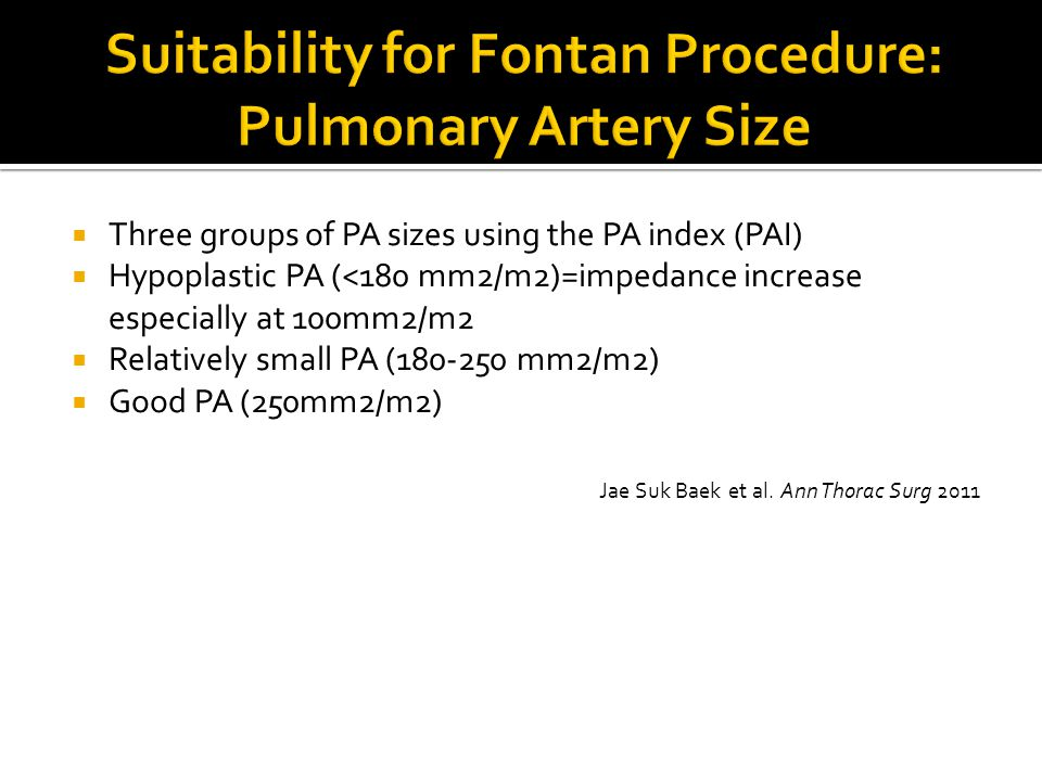 Suitability for Fontan Procedure: Pulmonary Artery Size