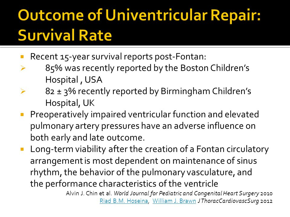 Outcome of Univentricular Repair: Survival Rate