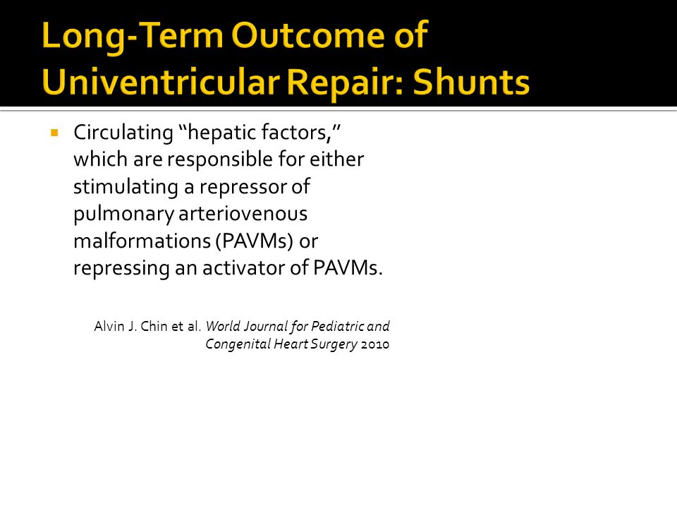 Long-Term Outcome of Univentricular Repair: Shunts