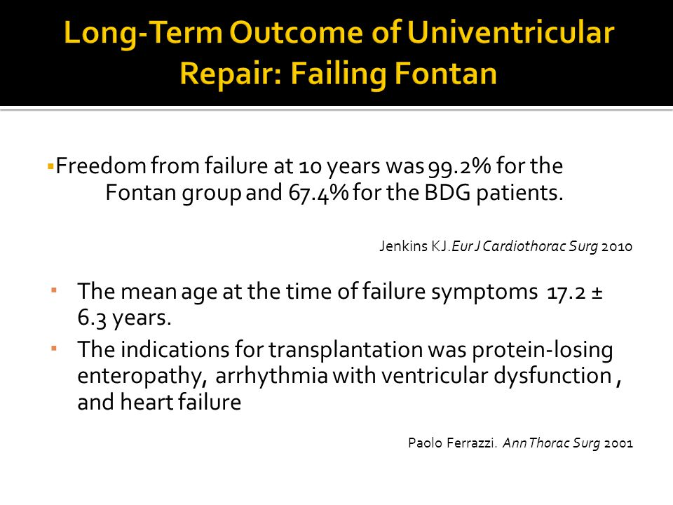 Long-Term Outcome of Univentricular Repair: Failing Fontan