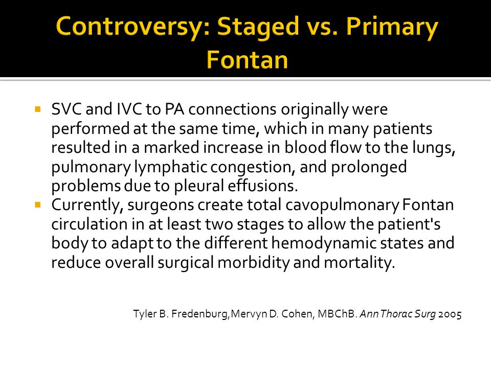 Controversy: Staged vs. Primary Fontan