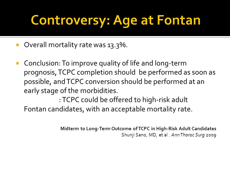 Controversy: Age at Fontan