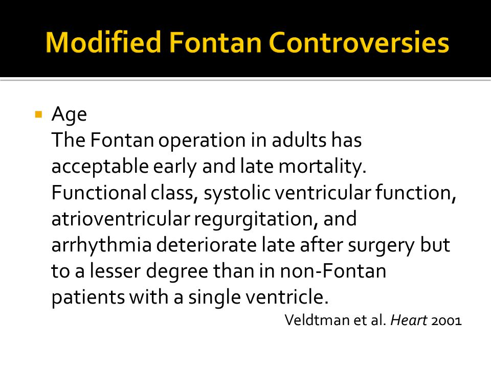 Modified Fontan Controversies