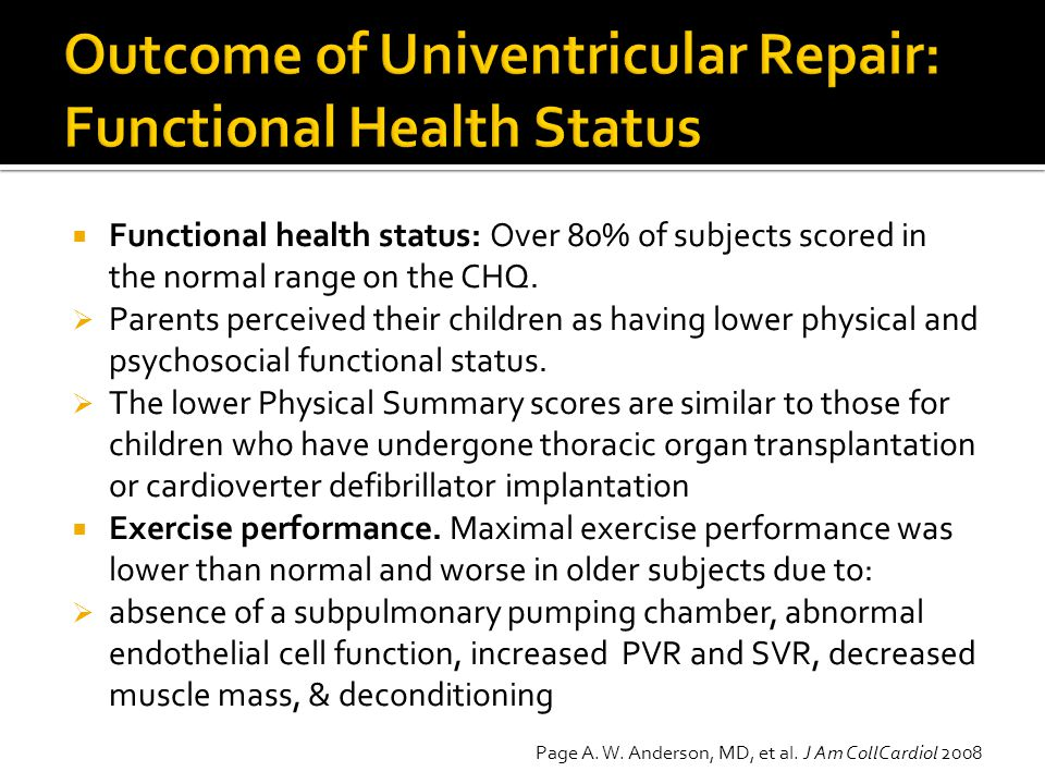 Outcome of Univentricular Repair: Functional Health Status