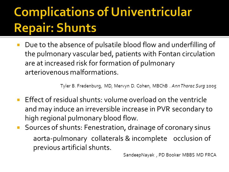 Complications of Univentricular Repair: Shunts
