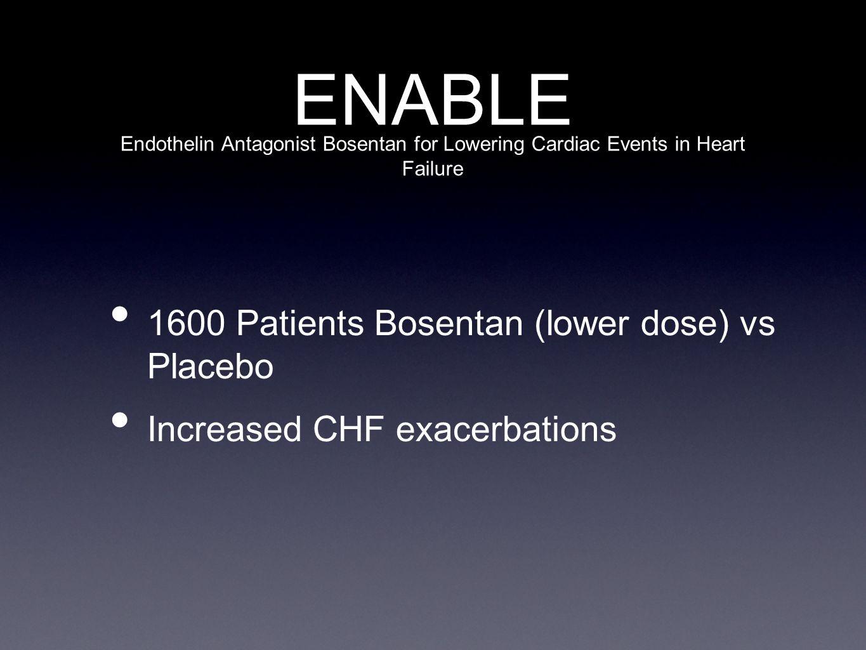 ENABLE 1600 Patients Bosentan (lower dose) vs Placebo