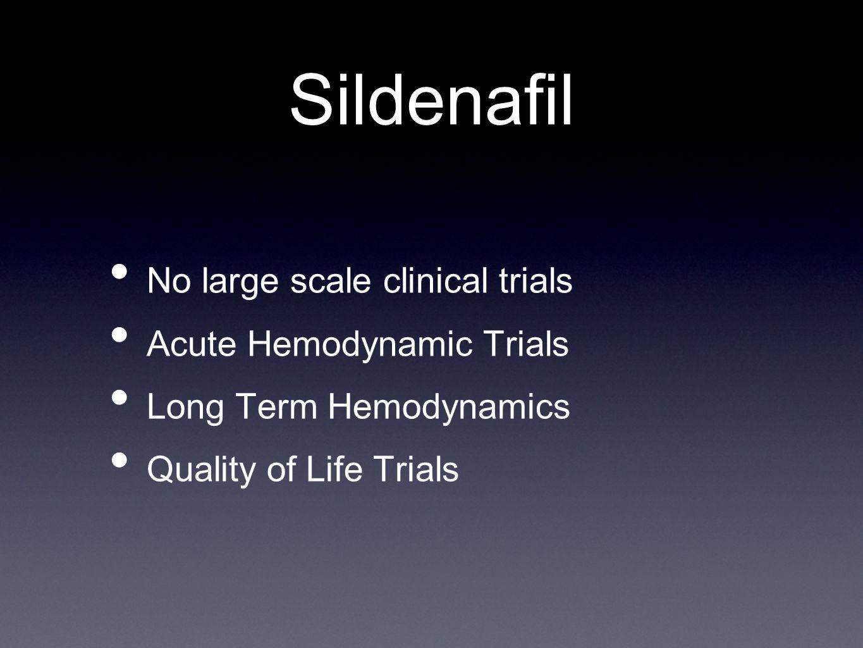 Sildenafil No large scale clinical trials Acute Hemodynamic Trials