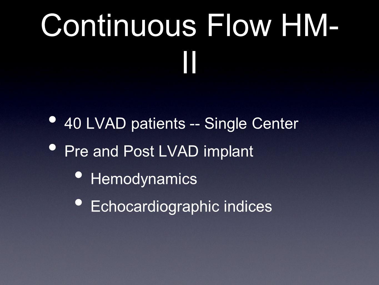 Continuous Flow HM-II 40 LVAD patients -- Single Center