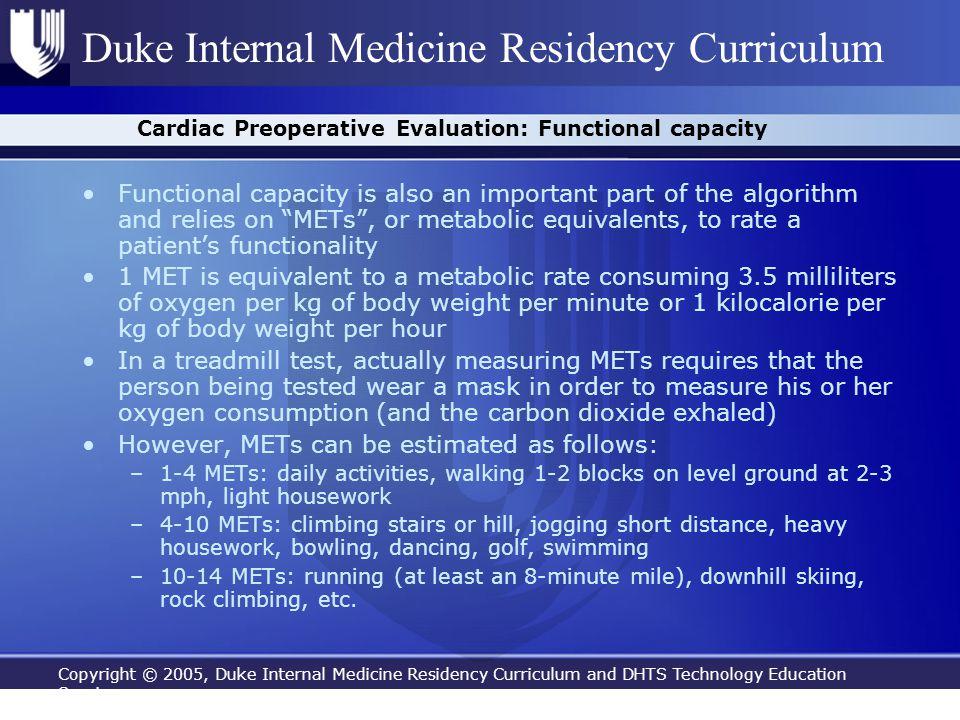 Cardiac Preoperative Evaluation: Functional capacity