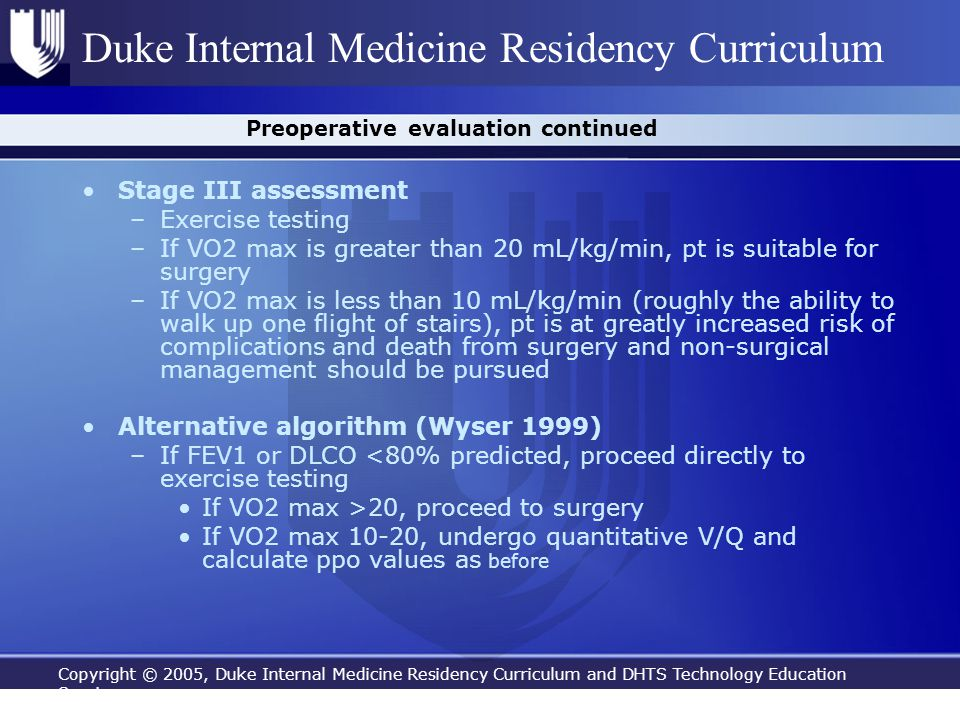 Preoperative evaluation continued