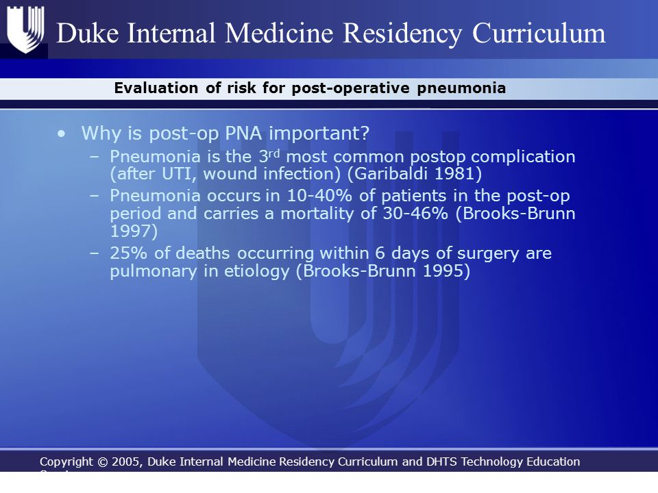 Evaluation of risk for post-operative pneumonia