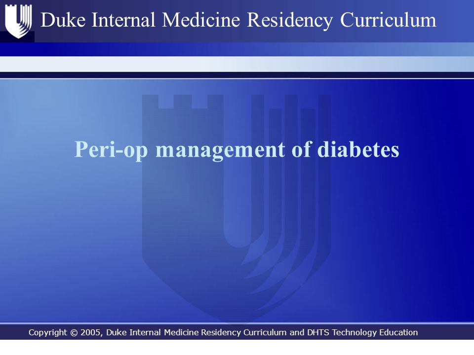 Peri-op management of diabetes