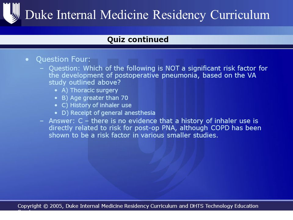 Quiz continued Question Four: