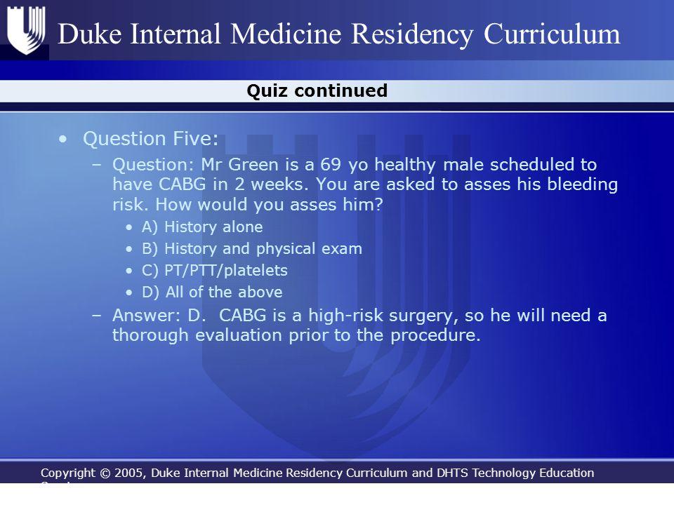 Question Five: Quiz continued